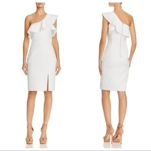 NWT Bardot One Shoulder Ivory Ruffle Sheath Dress